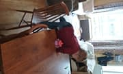 G. age 13 months scales a chair and the kitchen table for the first time. (Mom is at hand and supervising closely!)